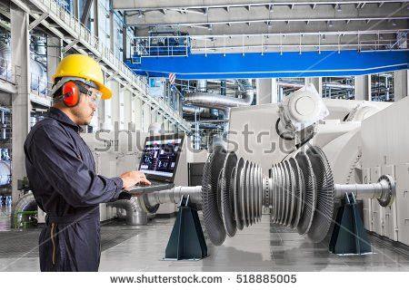 Engineer Using Laptop Computer Maintenance Equipment Stock Photo ...