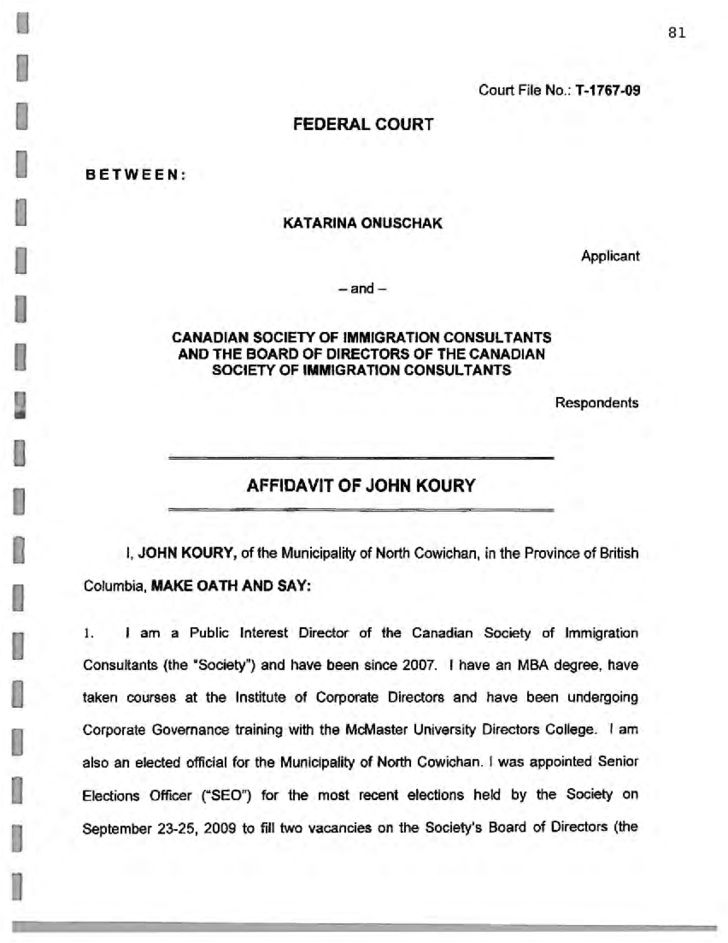 Federal Court Affidavit Form - Canada Free Download