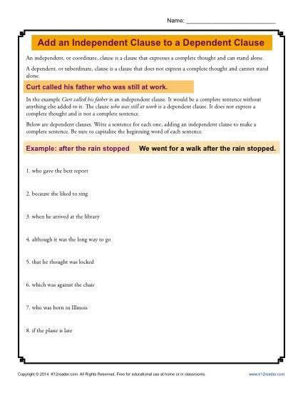 Add an Independent Clause to a Dependent Clause | Grammar Worksheets
