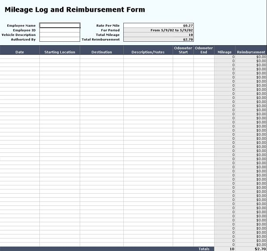 Mileage log with reimbursement form - Office Templates