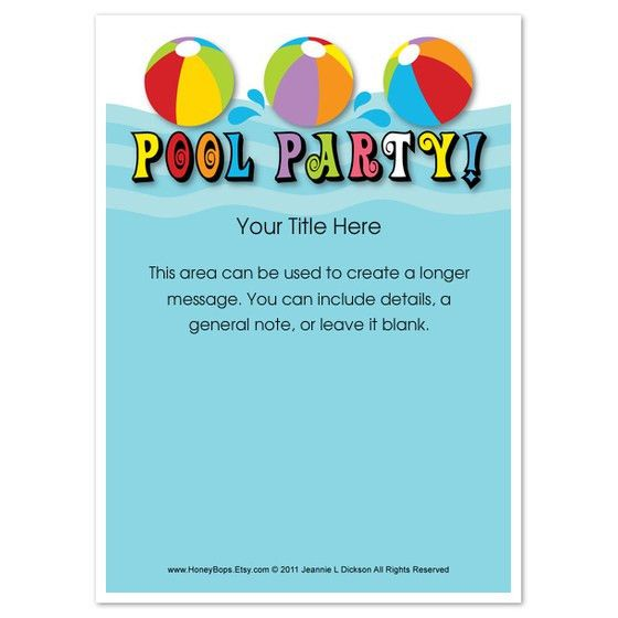 Party Invitations: Simple Pool Party Invitaions Template Design ...