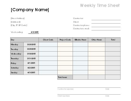 Weekly time sheet by client and project - Office Templates