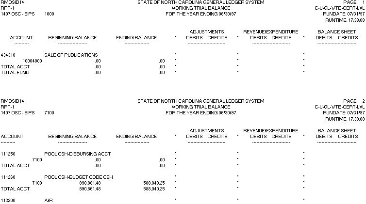 Working Trial Balance (at certified fund level) Report Example