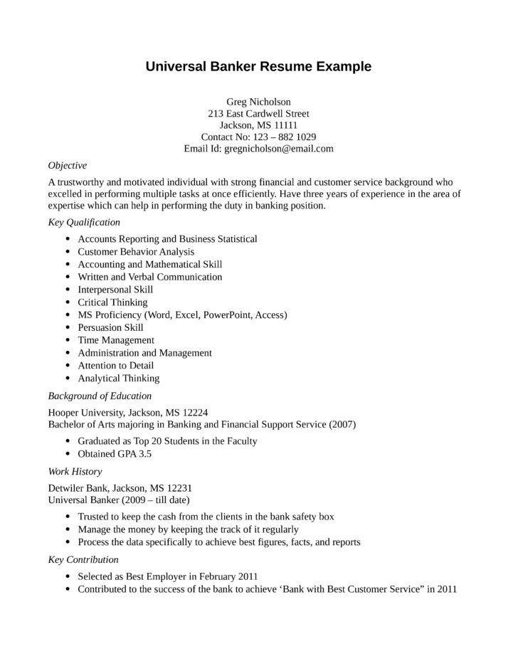 Entry Level & Freshers Universal Banker Resume Template