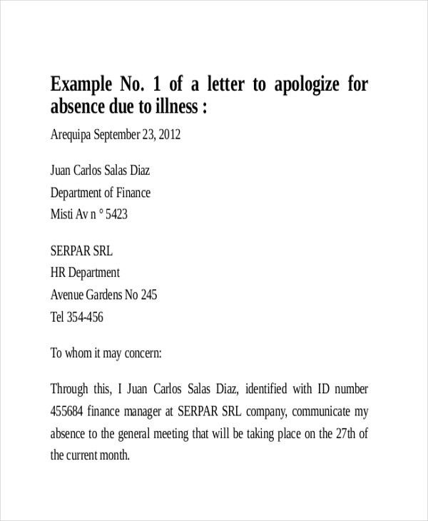 Sample Formal Excuse Letter - 5+ Examples in Word, PDF
