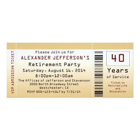 Retirement Party Invitation Goldtone Ticket   Zazzle