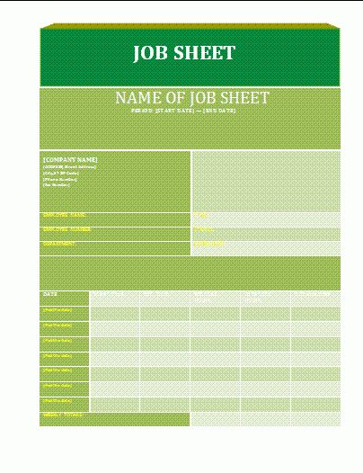 8+ job sheet template free | ledger paper