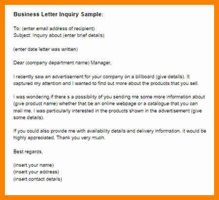 5+ example of inquiry letter for business | buyer resume