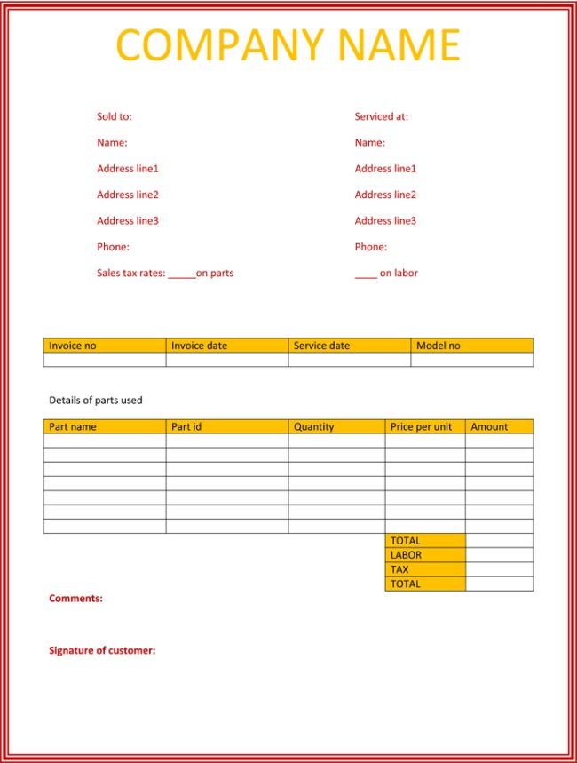 Simple Service Invoice Template | invoice example
