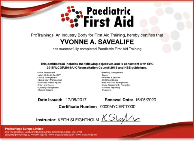 Paediatric First Aid Level 3 (VTQ) Course Details | ProTrainings.eu