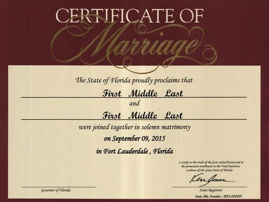 Commemorative Marriage Certificates | Florida Department of Health