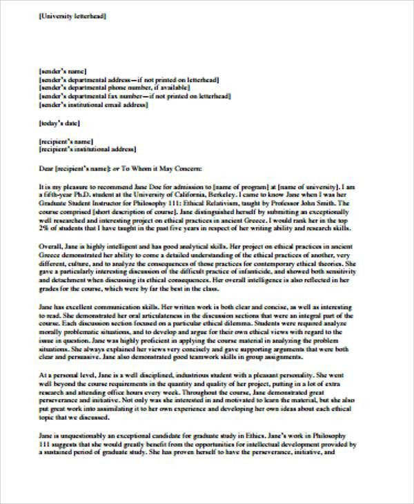 Sample Personal Recommendation Letter - 6+ Examples in Word, PDF