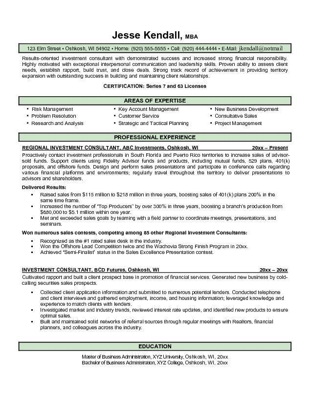 Free Investment Consultant Resume Example