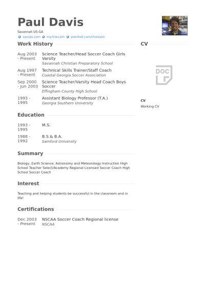 Science Teacher Resume samples - VisualCV resume samples database