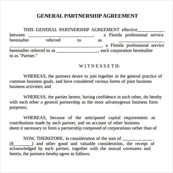 Partnership Agreement Sample | Real Estate Forms