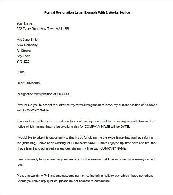 Free Two weeks Notice Letter, 15+ Samples & Examples | Printable ...