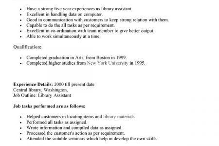 Sample Resume For Librarian Job. admission resume professional ...