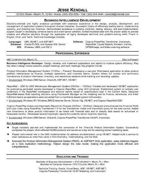 Business Intelligence Resume - Sample Resume Cover Letter Format