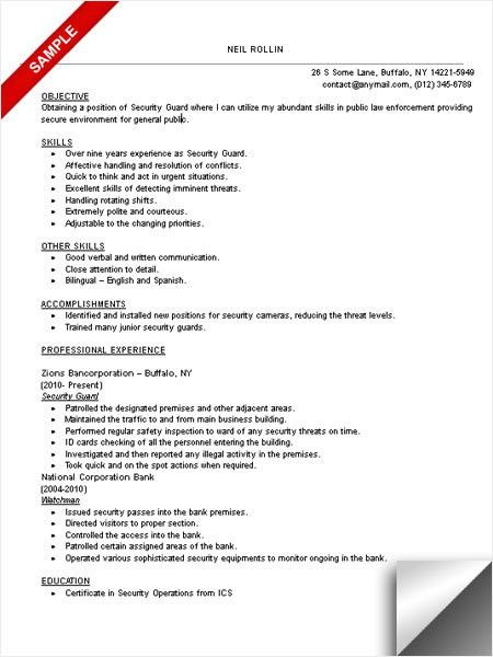 Security Guard Resume Sample | berathen.Com