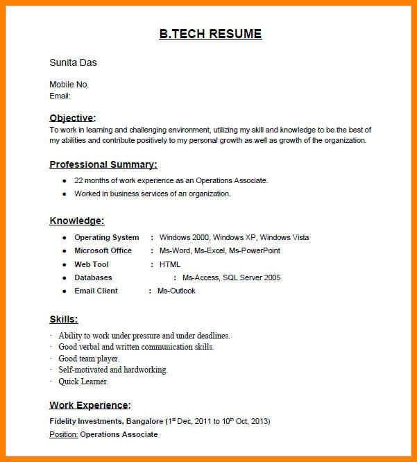 image result for resume samples bcom freshers. fresher engineering ...