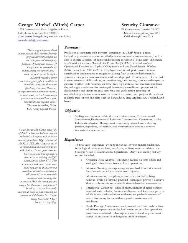 Specific Resume for USA JOBS Final