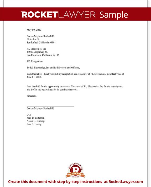 Officer Resignation Letter (CEO, CFO, etc) - Template with Sample