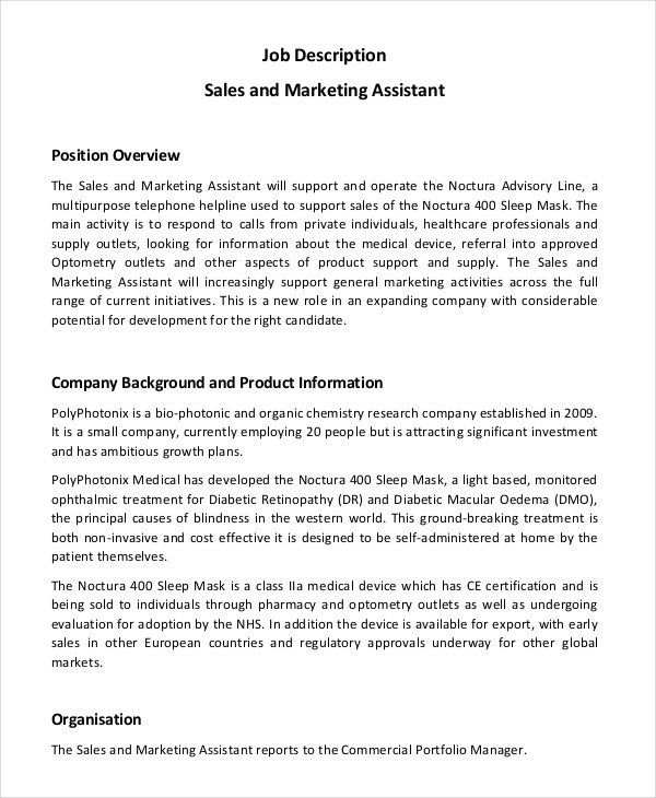 Marketing Assistant Job Description - 8+ Free Word, PDF Documents ...