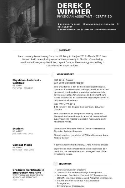 Physician Assistant Resume Sample, 10 best free resume templates ...