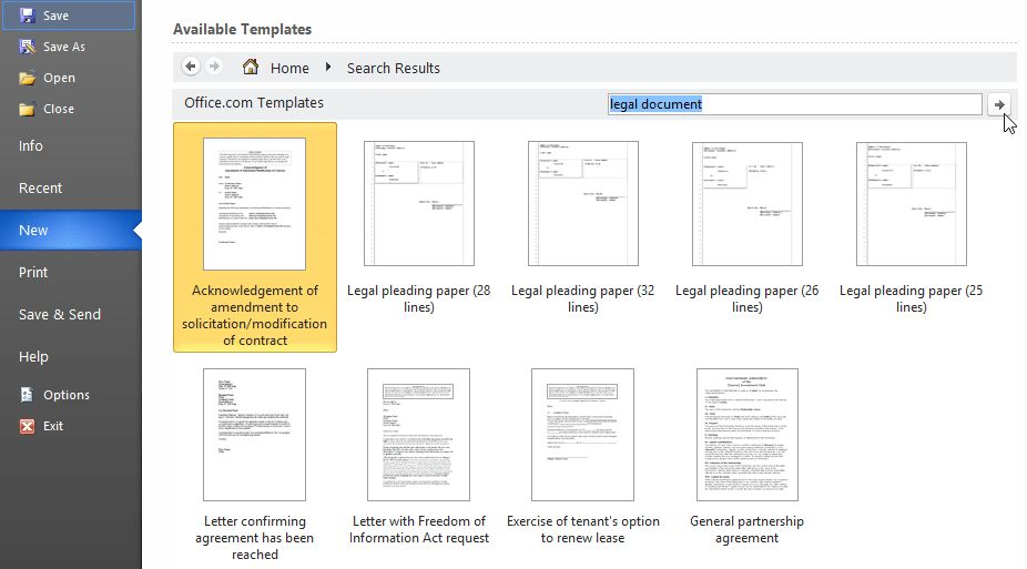 legal document templates for Word 2010