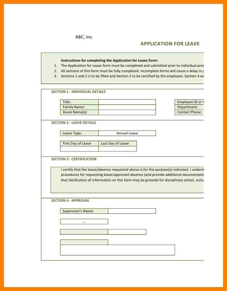 Annual Leave Application Form | Cvcover.billybullock.us