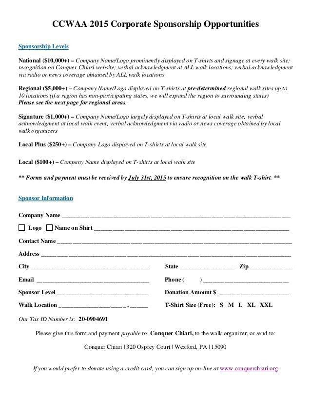 2015 CORPORATE Sponsor Form