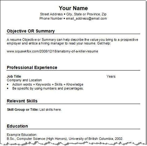 Example Of Simple Resume. Sample Simple Resume Examples Of Resumes ...