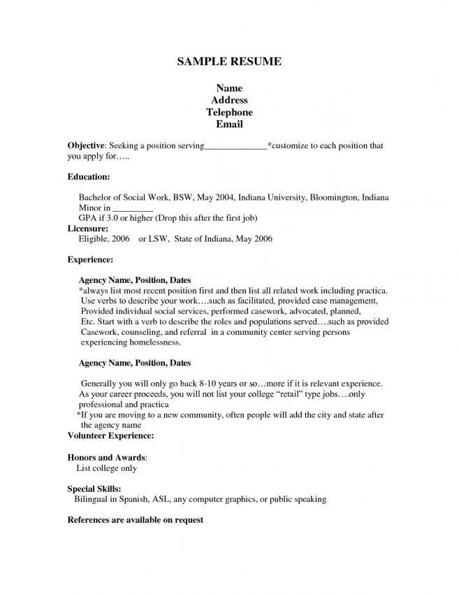resume objective for first job resume objective examples for