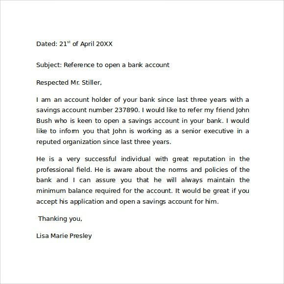 Character Reference Letter To Open A Bank Account - Compudocs.us