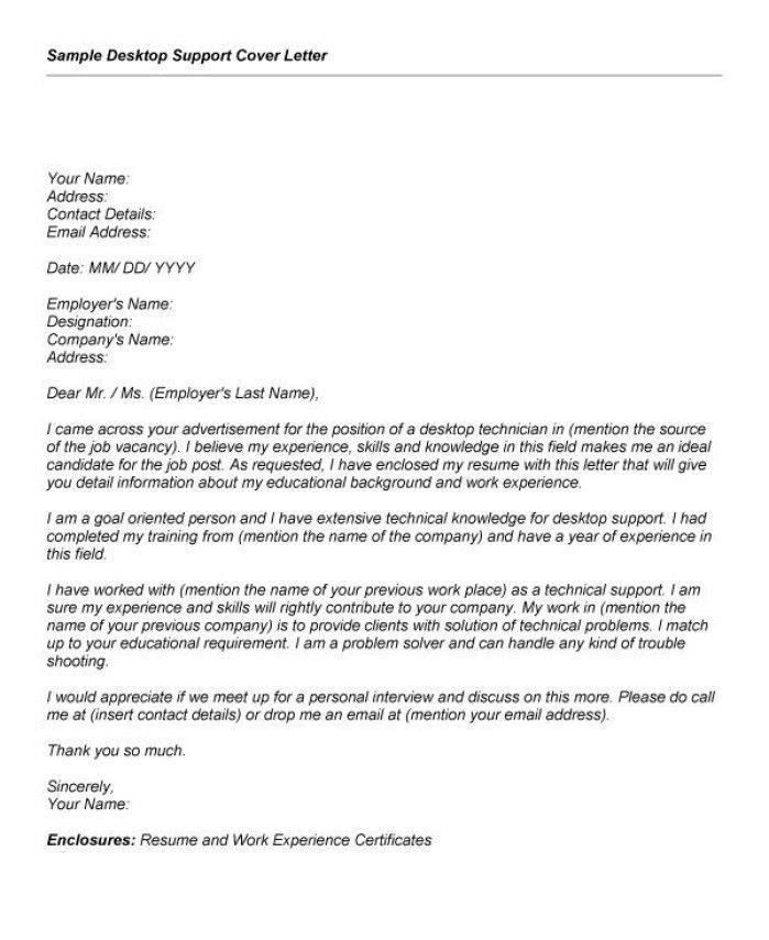Desk Support Cover Letter