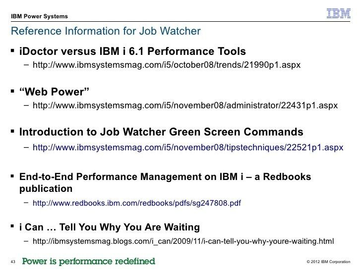 IBM i Job wait accounting job watcher june 2012