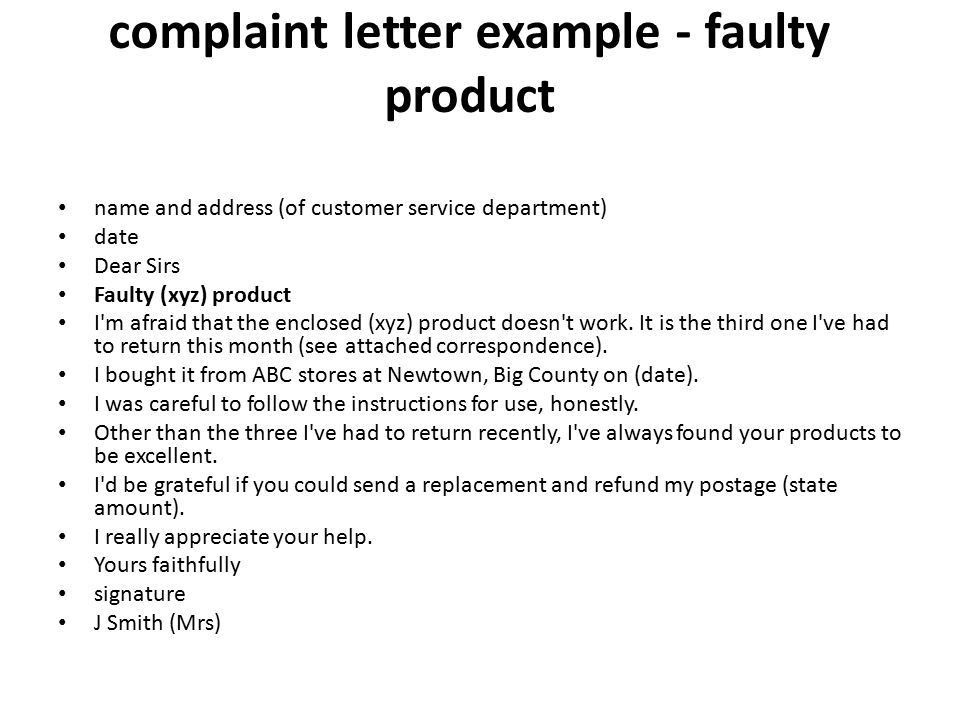 Letter of Complaint. - ppt video online download