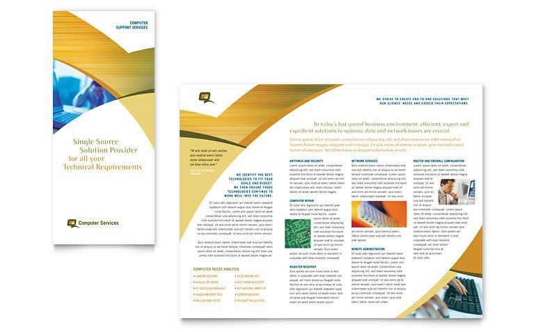Computer Services & Consulting Tri Fold Brochure Template - Word ...