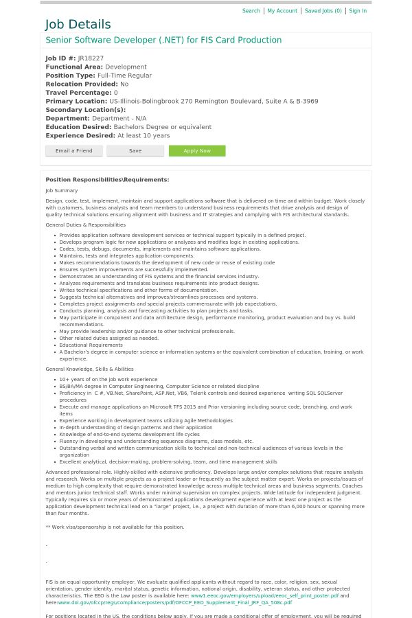 Senior Software Developer for FIS Card Production job at FIS in ...