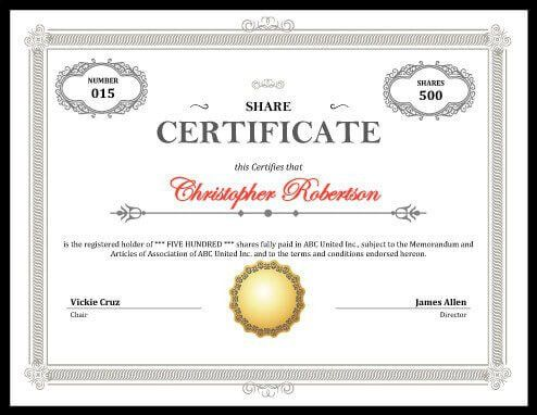 Printable Stock Certificate [Free Download]