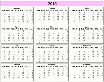 Yearly 2015 Printable Calendar - color & weekday starts Sunday