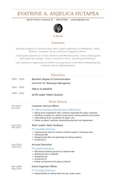 Customer Service Officer Resume samples - VisualCV resume samples ...