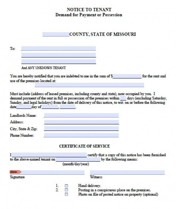 Free Missouri Notice to Quit | Eviction Notice for Non-Payment ...