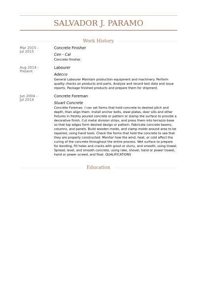 Concrete Finisher CV Örneği - VisualCV Özgeçmiş Örnekleri Veritabanı