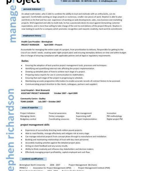 Super Cool Ideas Project Manager Sample Resume 6 Manager CV ...