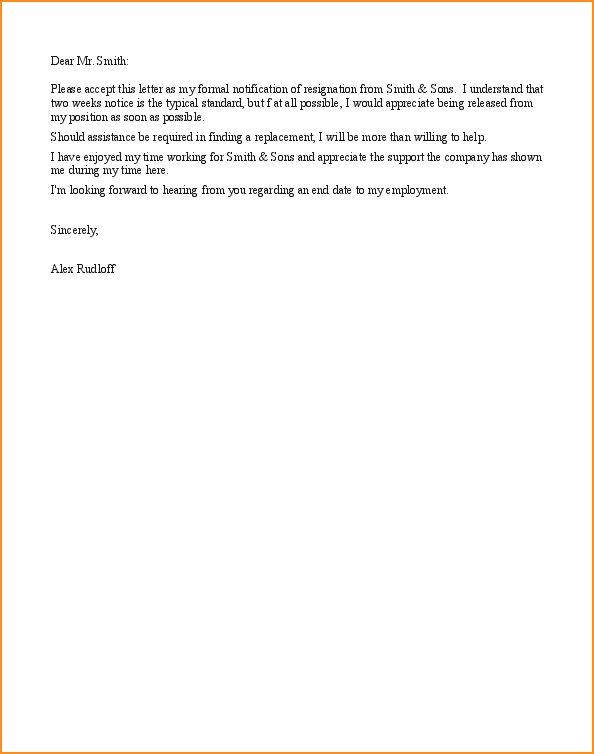 6+ 2 weeks notice resignation letter sample - Basic Job Appication ...