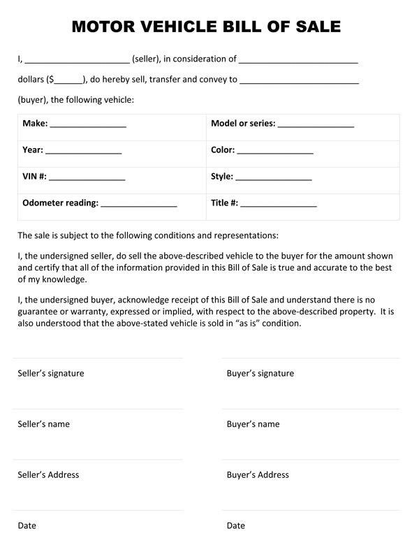 Printable Sample Vehicle Bill of Sale Template Form | Laywers ...