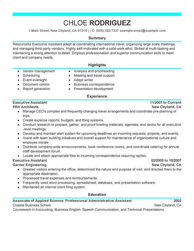 Unforgettable Executive Assistant Resume Examples to Stand Out ...