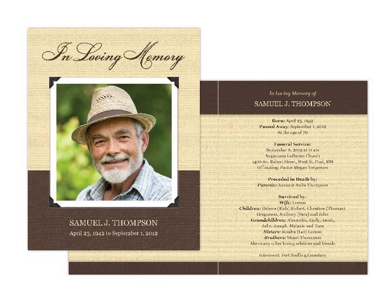 Memorial Cards, Memorial Programs and Memorial Bookmarks