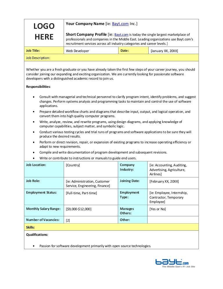 job description web developer purpose of position immaculata ...